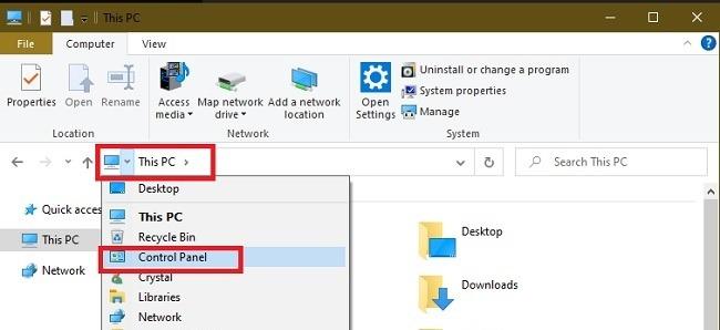Möglichkeiten zum Öffnen der Systemsteuerung in Windows 10 Dieser PC