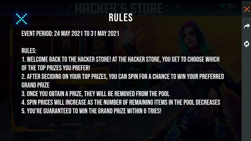 Die Regeln des Hackerâ????s Store-Events in Free Fire