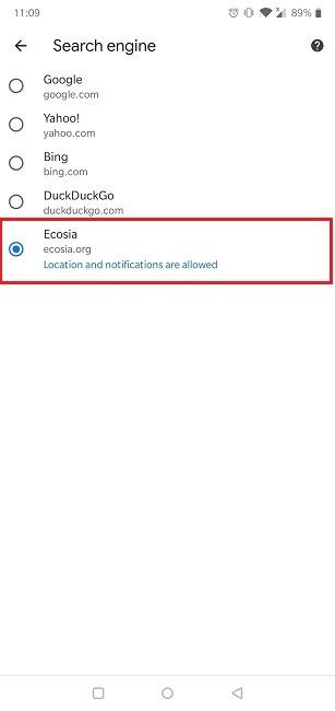 So ändern Sie die Standardsuchmaschine Android Chrome aktivieren Ecosia