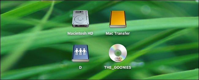 Ein Beispiel für Laufwerke, die auf dem Mac-Desktop sichtbar sind.