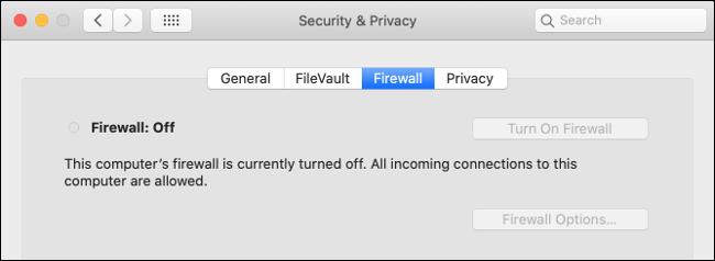 macOS-Firewall deaktiviert