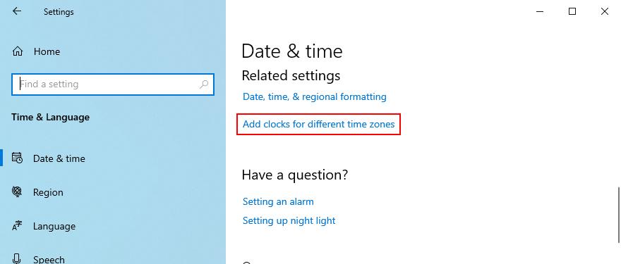 Windows 10 zeigt, wie Sie auf die Option zum Hinzufügen von Uhren für verschiedene Zeitzonen zugreifen