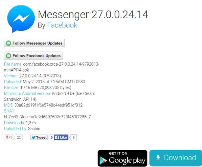 Messenger 27.0.0.24.14 APK über APKMirror herunterladen