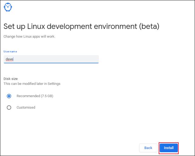 Eingeben eines Benutzernamens im Linux-Subsystem-Setup auf ChromeOS
