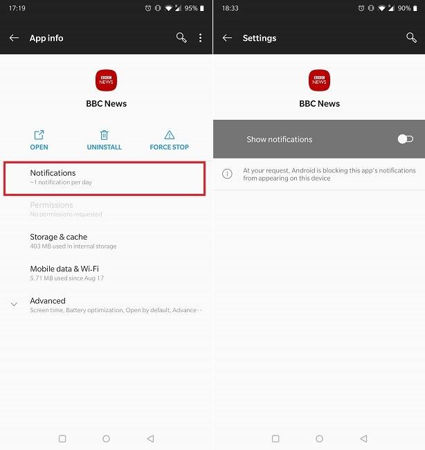 Benachrichtigungen ausblenden Sperrbildschirm Oneplus Individuelle App Keine Benachrichtigungen