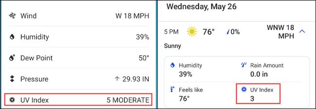 UV-Index der Wetterkanal-App.