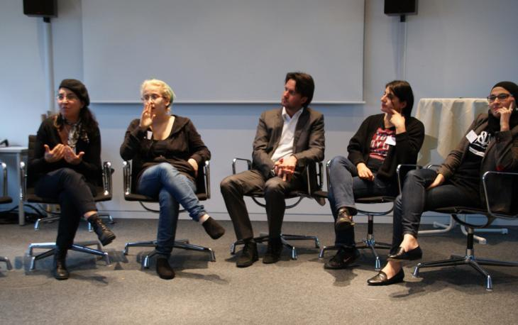 "The panel for the discussion that followed the ""Slamming für 2020"" poetry workshop in Bonn (photo: Fabian Pianka)"