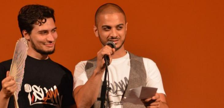 "Two participants in the poetry slam project ""A'Slama"" in Tunis (photo: ifa)"
