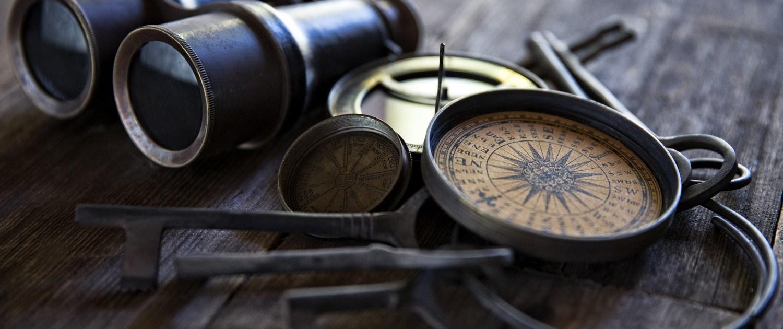compas and binoculars