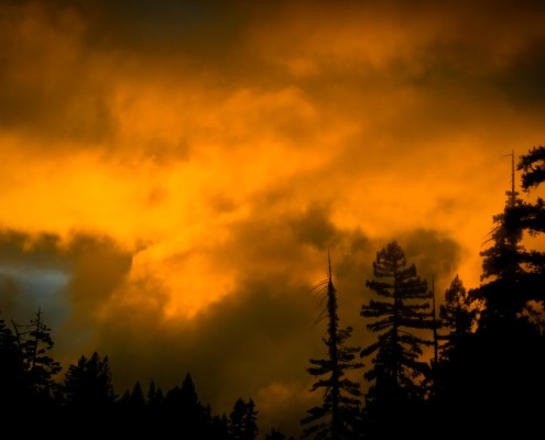 wildfire with clouds