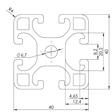 Strebenprofil 1000mm Aluminiumlegierung, 40 x 40mm