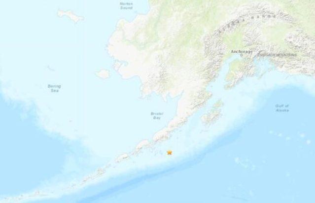 The epicentre of a 7.8-magnitude earthquake off the coast of Alaska on July 22, 2020