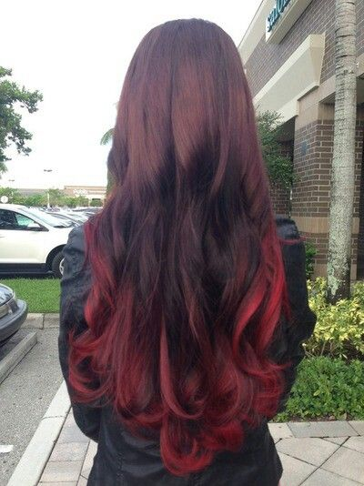 schwarzbraun rot ombre Clip in Extensions R021 R021
