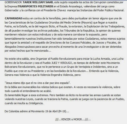 Documento donde afirman que Tarek William Saab respalda la corrupción de MILITAREK.