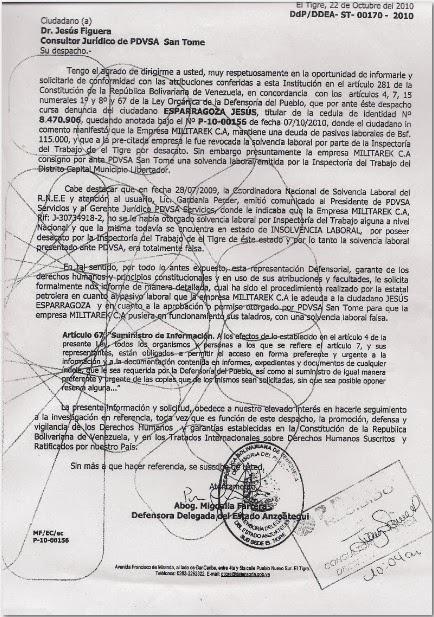 Documento donde se evidencia que Jesús Figuera Consultor Jurídico de PDVSA San Tomé conoce la corrupción de MILITAREK.