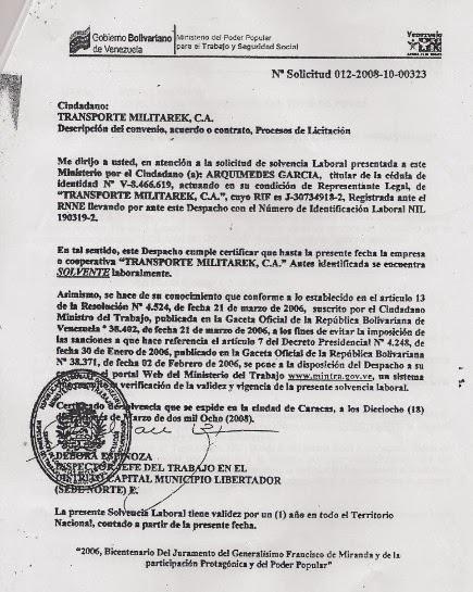 Solvencia Laboral falsa que MILITAREK presentó ante PDVSA.
