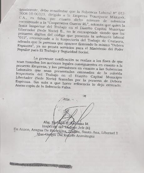 Segunda parte del oficio enviado a alto gerente de PDVSA.