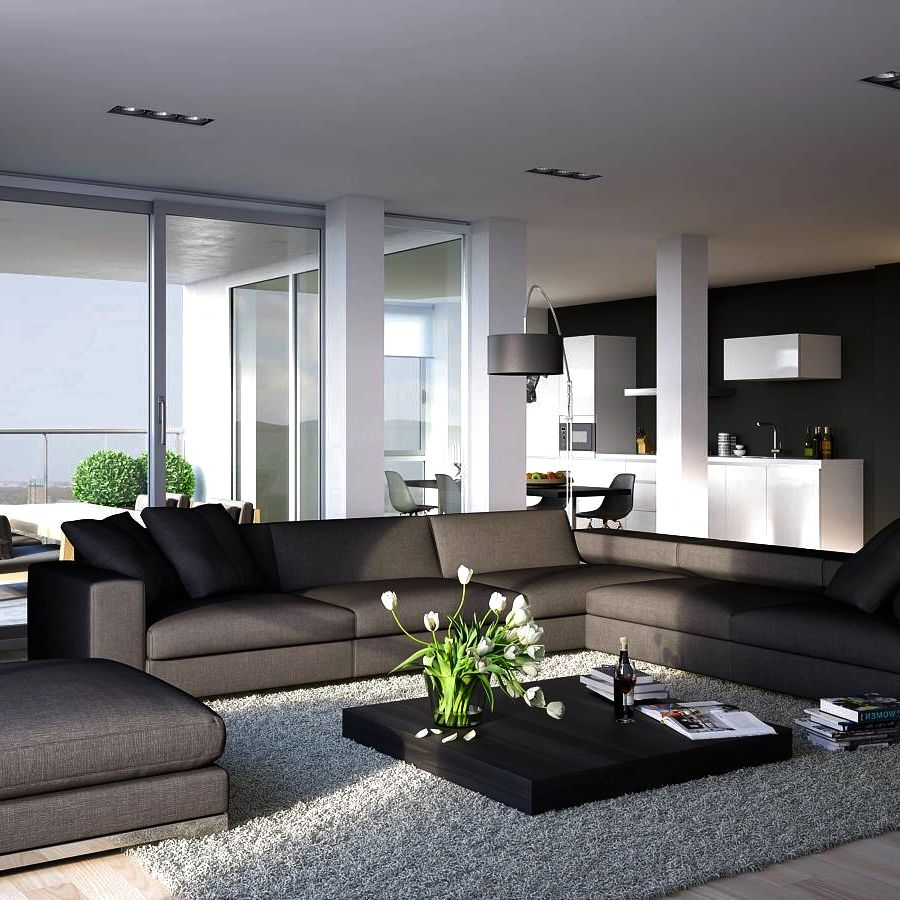 show pictures of modern living rooms with dark brown leather couches what are the different room styles lookbook included