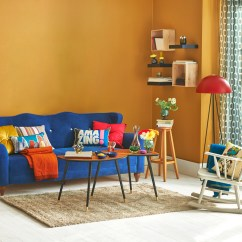 Living Room Wall Paint Finish Furniture Set Beginner S Guide To Colours Costs Concept Made Simple With Yellow Painting And Blue Sofa