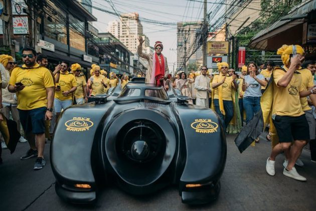 coolest groom entry ideas ever - in a batmobile