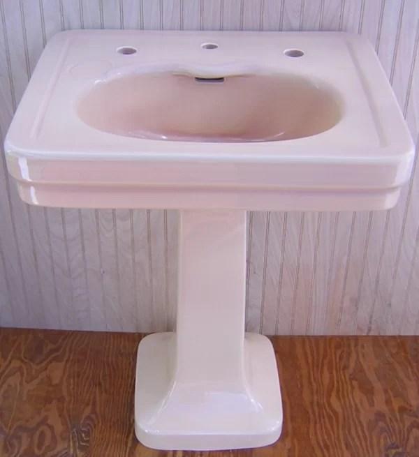 antique 1928 tan kohler pedestal sink