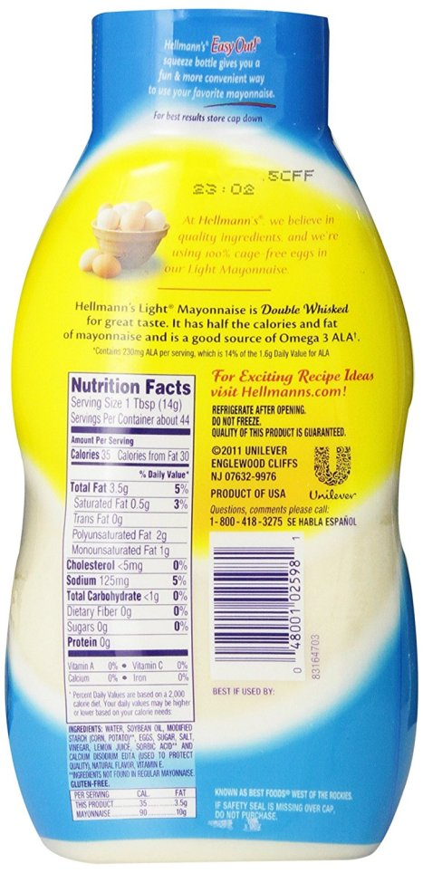 Light: 3.5g of fat, 35 calories