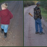 Ty hunting with his slingshot at age 3