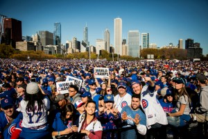 Fans celebrate at the Chicago Cubs World Series rally in Grant Park, Friday morning, Nov. 4, 2016, 2016. | Ashlee Rezin/Sun-Times