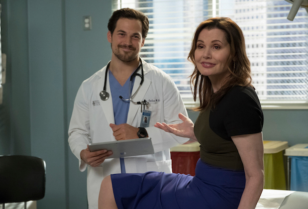 greys anatomy season 14 episode 23 geena davis giacomo gianniotti