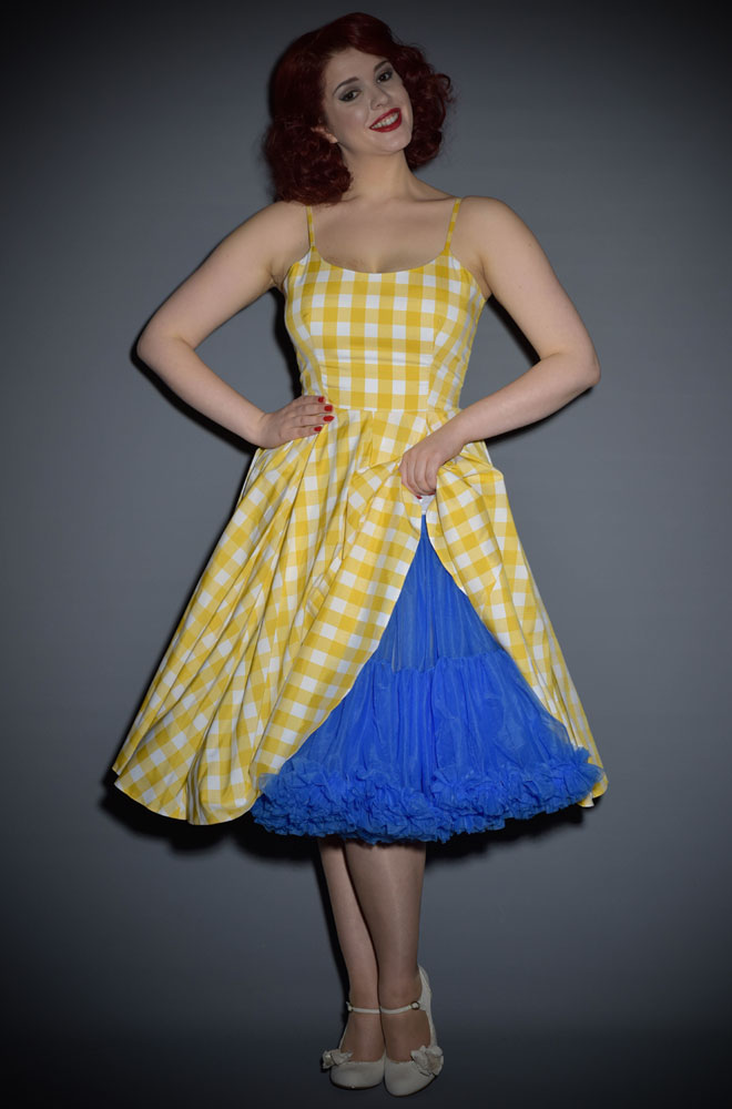 Priscilla Vintage Style 50s Dress In Lemon Yellow Gingham