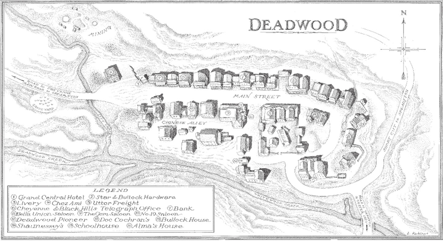 Map of HBO's Deadwood — Penny Arcade