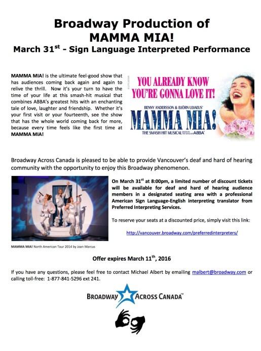 Mamma Mia! Interpreted Performance