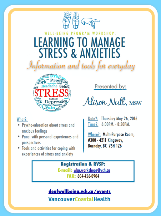 WBP LEARNING TO MANAGE STRESS & ANXIETIES 26 May 2016