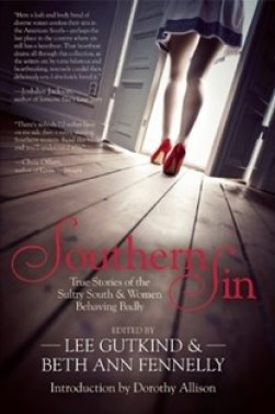 Southern Sin book cover with woman's legs and feet in red high heels, pictured from the back as she walks out a door into the light
