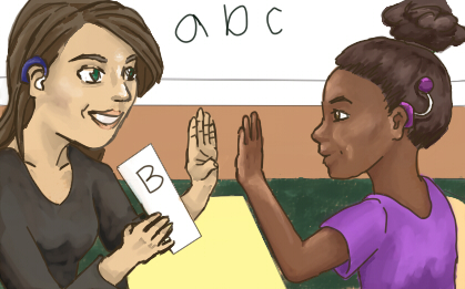 "Teacher and student looking at each other making a ""b"" handshape."
