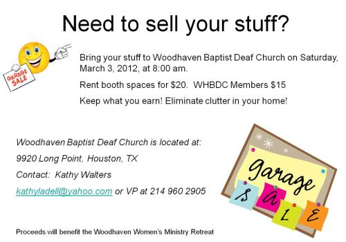 Houston Garage Sale 3 3 12 Deaf Network Of Texas