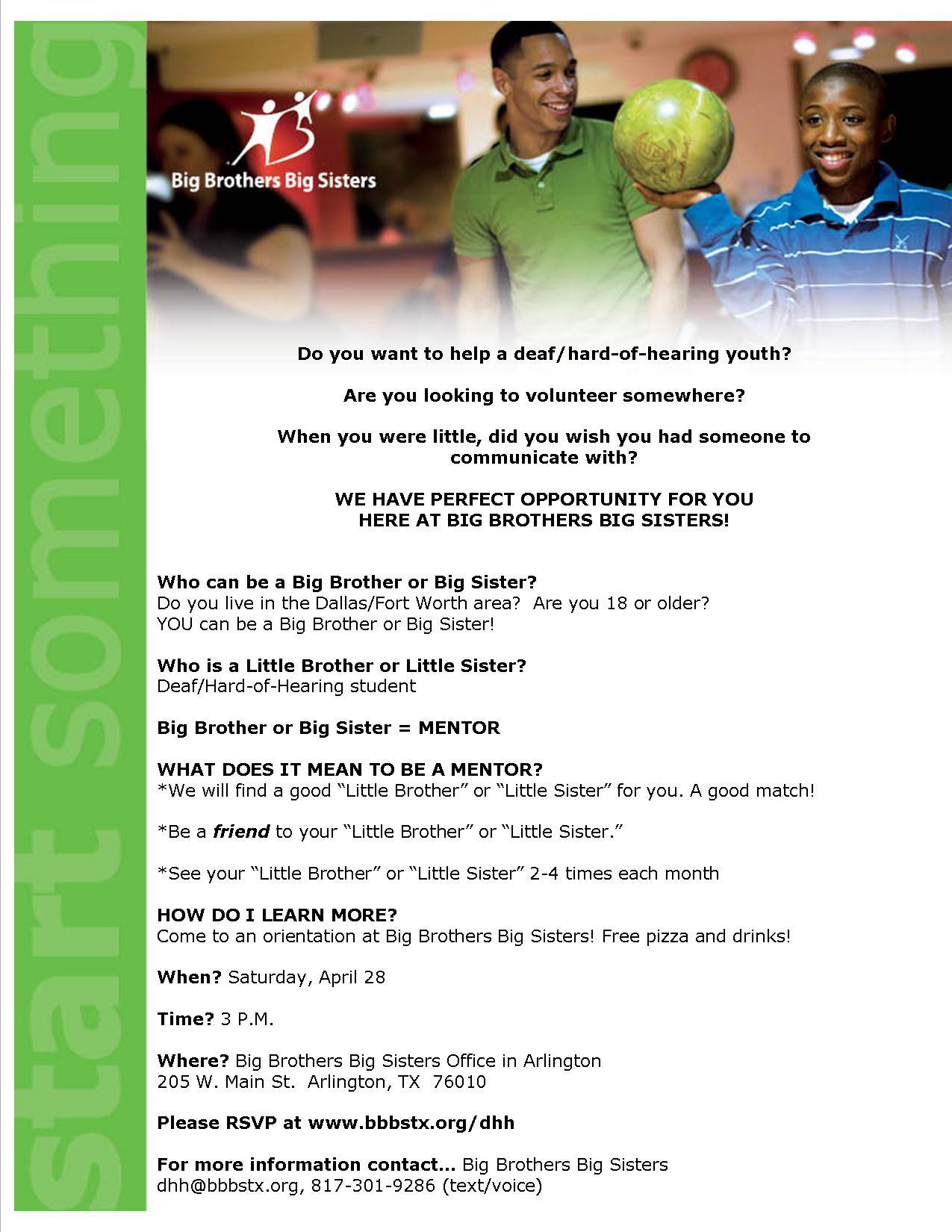 Big Brother Big Sister Volunteer Orientation 42812 Dfw Deaf