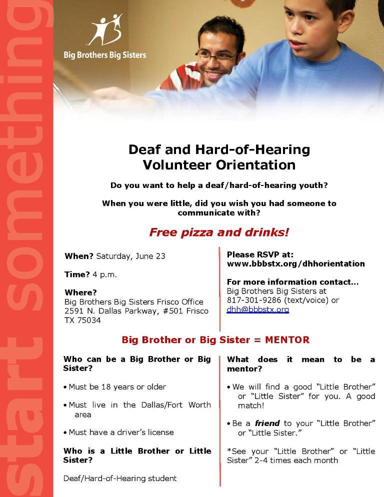 Big Brother Big Sister Volunteer Orientation 62312 Dfw Deaf