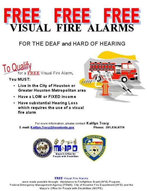 Free Visual Fire Alarms Houston Deaf Network Of Texas
