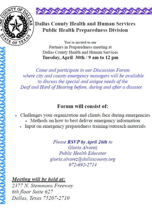 Partners in Preparedness Deaf and Hard of Hearing Flyer