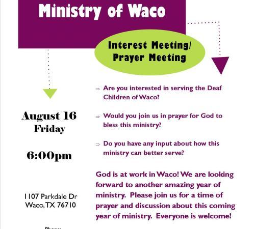 Interest Meeting.Prayer Meeting 8.16.13 for DN