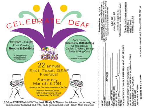 Deaf Festival in Tyler 2014 flyer