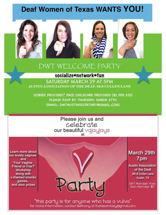 Deaf Women of Texas, Austin Welcome Party & V-Party