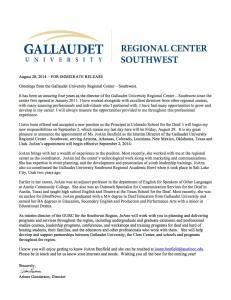Gallaudet University Regional Center Southwest letter