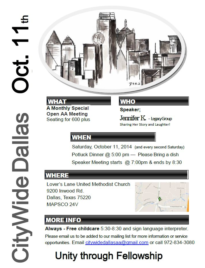 REMINDER: Open AA Meeting 10/11/14 – DFW