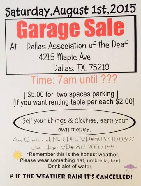 dad garage sale flyer