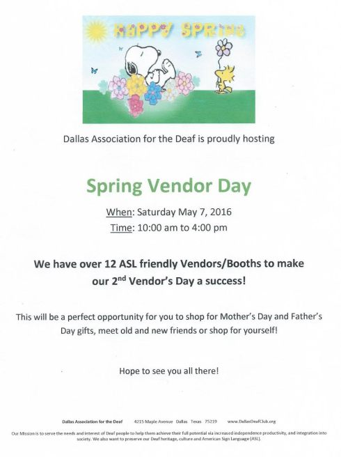 DAD Spring Vendor Day 2016 flyer