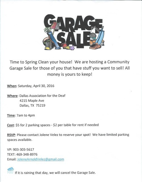 dad garage sale flyer