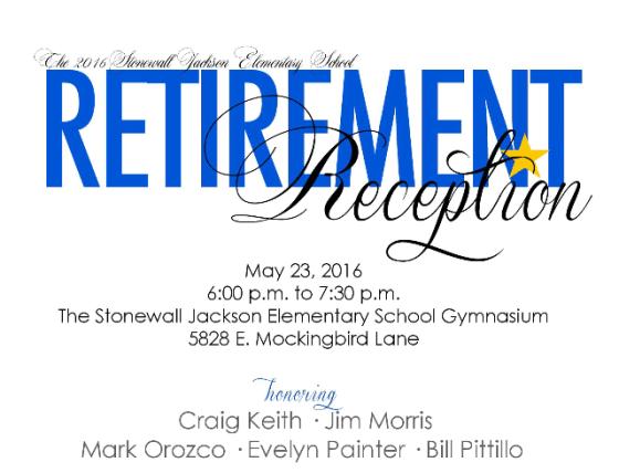 Stonewall Jackson Elementary retirement reception 2016