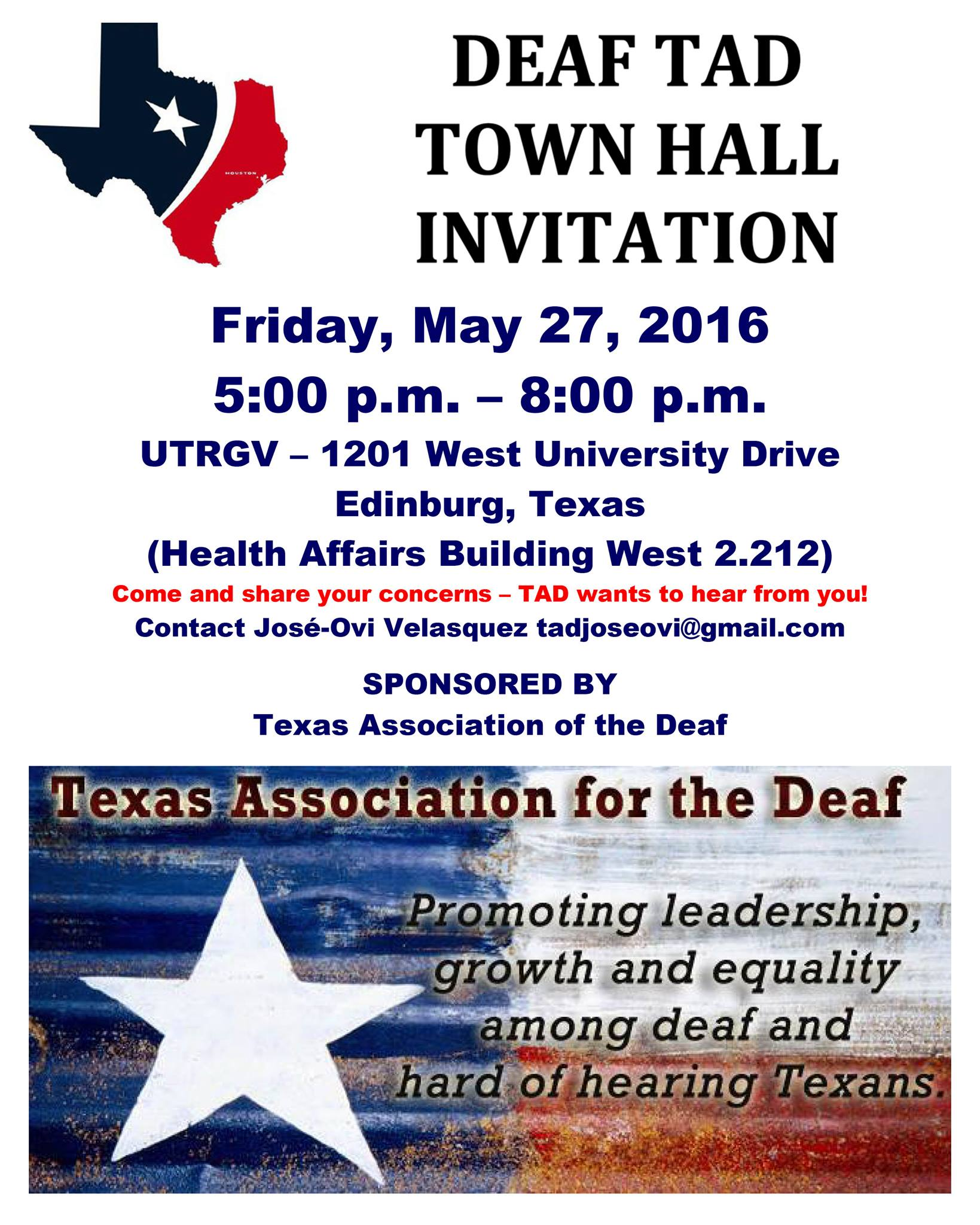 Tad Town Hall Invitation 5 27 16 Edinburg Texas Deaf Network Of